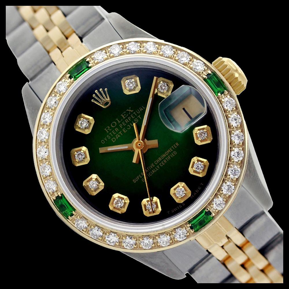 Rolex Ladies Two Tone 14K Gold/SS, Diam Dial & Diam/Emerald Bezel, Sapphire Crystal - REF-440F3M