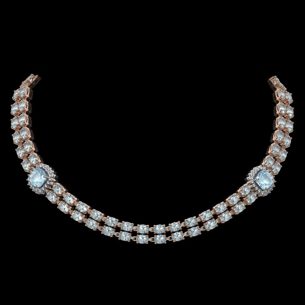 33.39 ctw Aquamarine & Diamond Necklace 14K Rose Gold - REF-527F3M