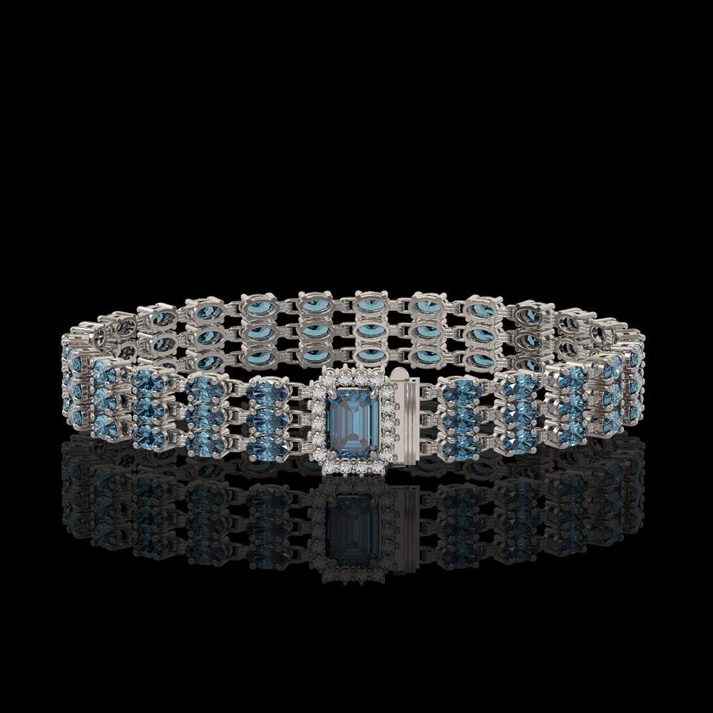 26.02 ctw London Topaz & Diamond Bracelet 14K White Gold - REF-318G2W