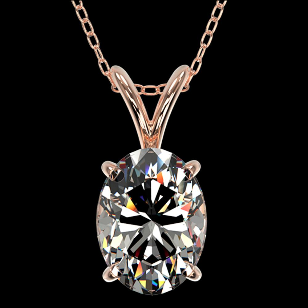 1.25 ctw Certified VS/SI Quality Oval Diamond Necklace 10k Rose Gold - REF-325K2Y