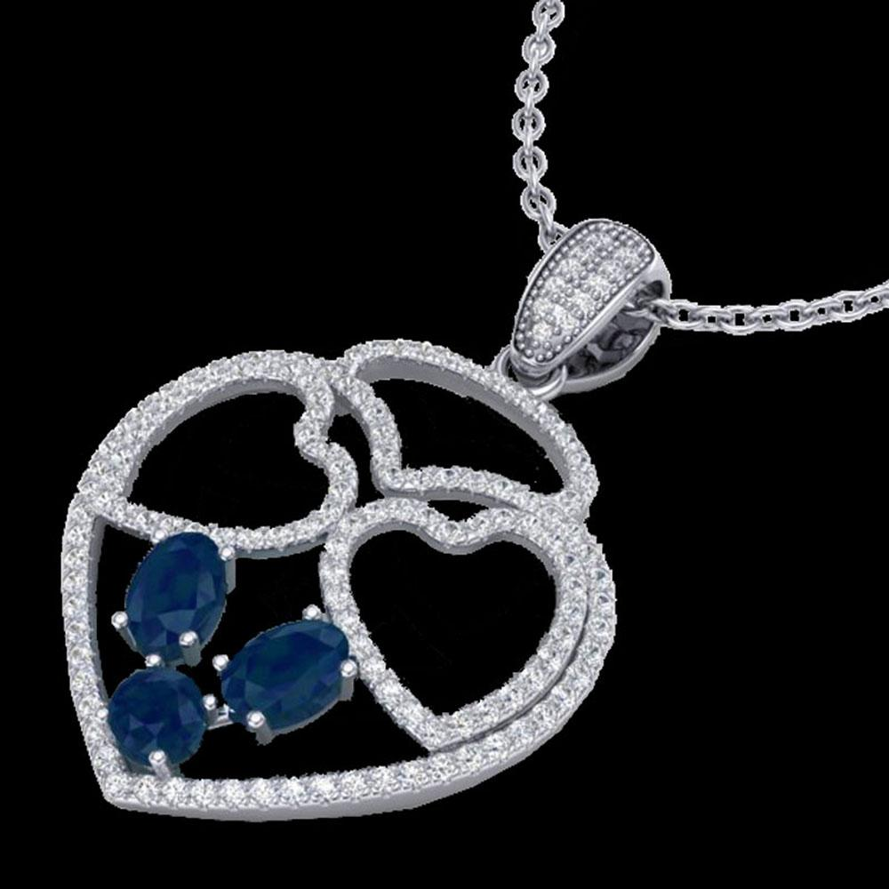 3 ctw Sapphire & Micro Pave Designer Heart Necklace 14k White Gold - REF-134N5F