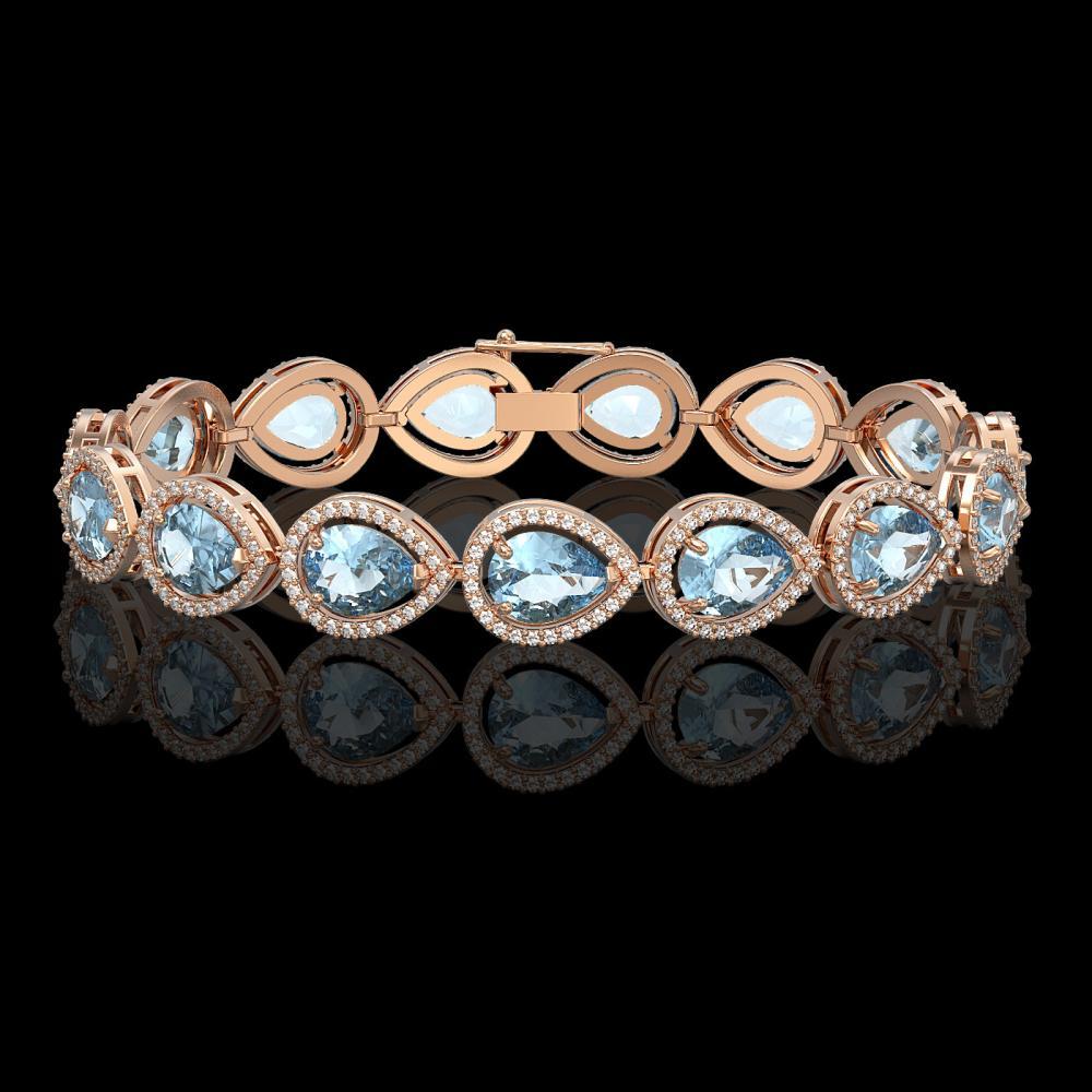 19.85 ctw Aquamarine & Diamond Micro Pave Halo Bracelet 10k Rose Gold - REF-423M3G