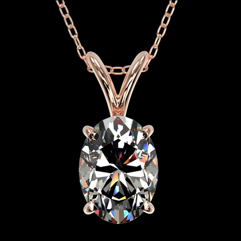 1 ctw Certified VS/SI Quality Oval Diamond Necklace 10k Rose Gold - REF-239H3R