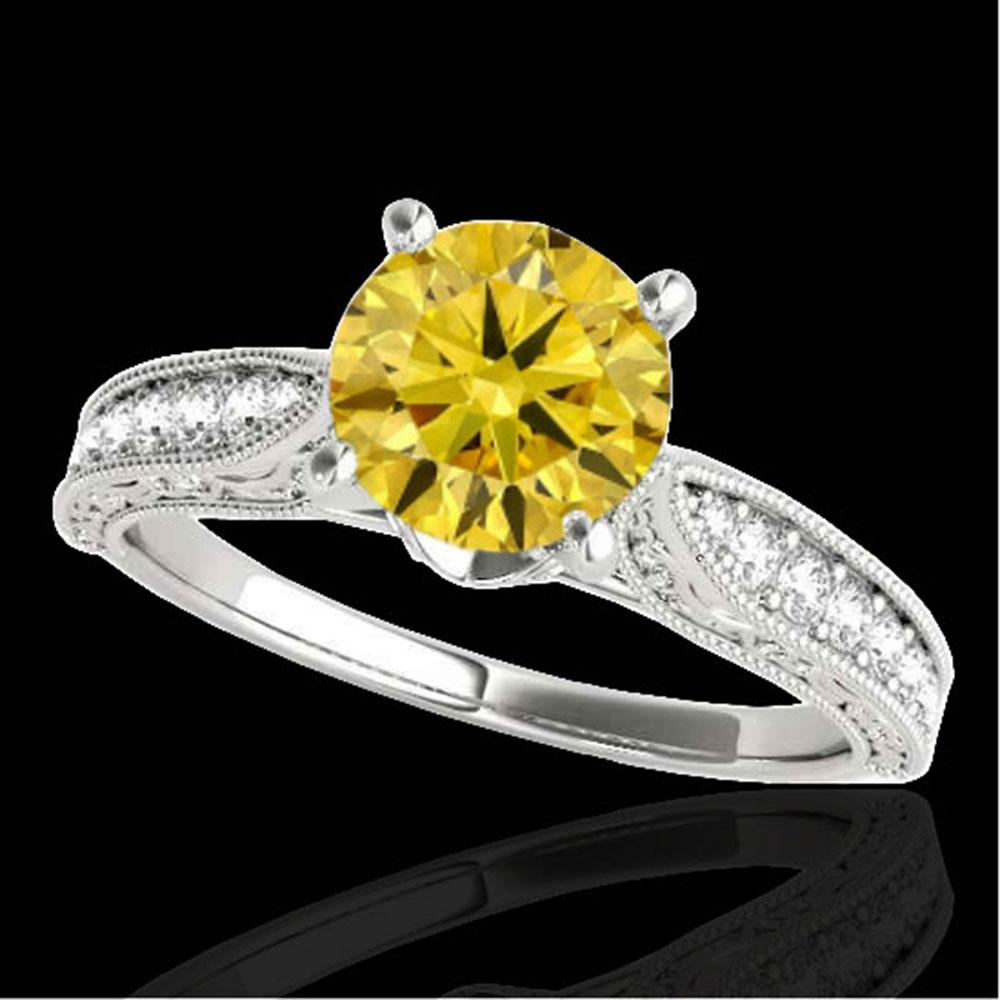 1.5 ctw Certified SI Intense Yellow Diamond Antique Ring 10k White Gold - REF-259G3W