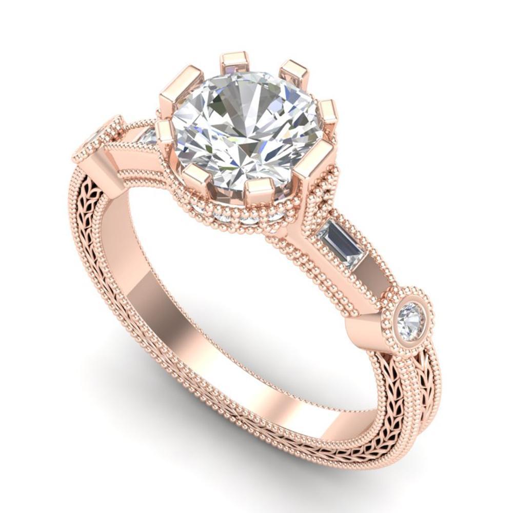 1.71 ctw VS/SI Diamond Solitaire Art Deco Ring 18k Rose Gold - REF-442M5G