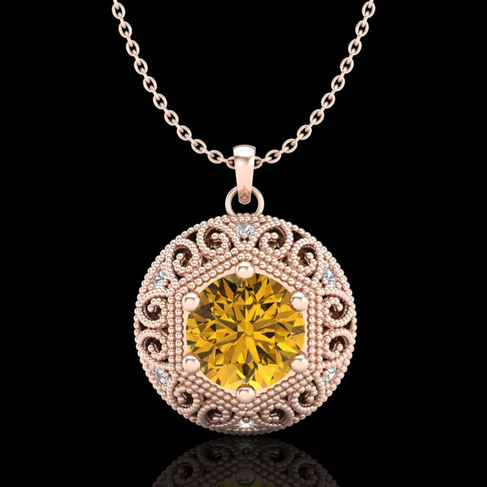 1.11 ctw Intense Fancy Yellow Diamond Art Deco Necklace 18k Rose Gold - REF-236K4Y