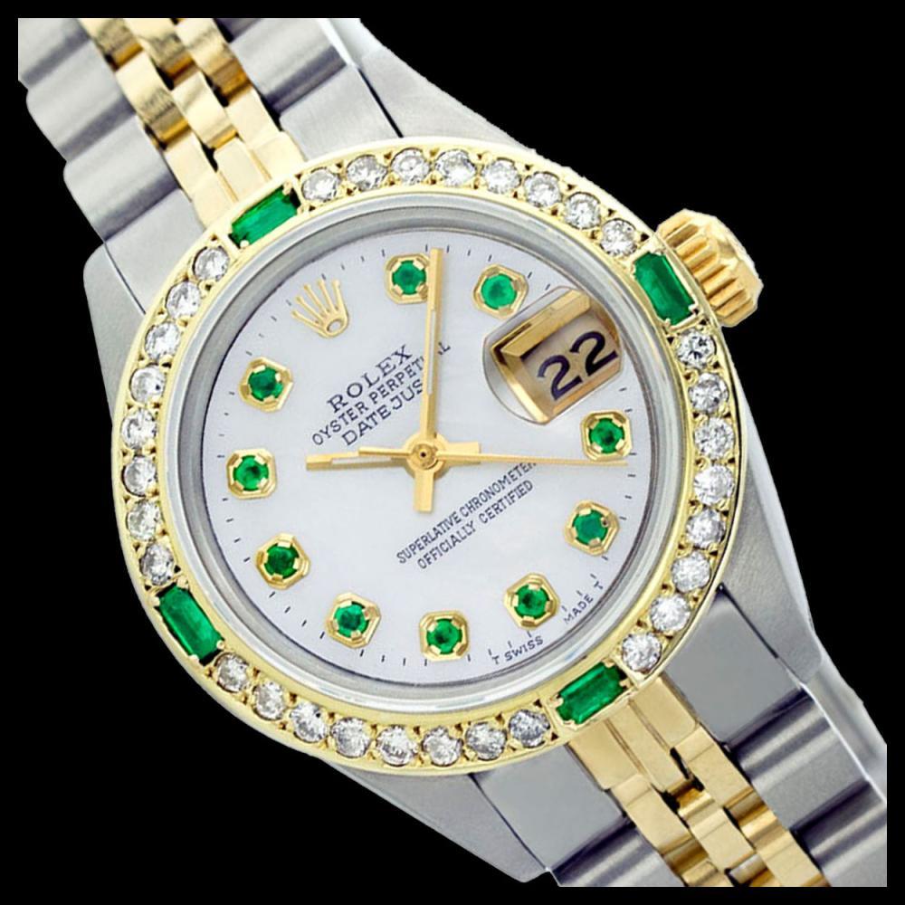 Rolex Ladies Two Tone 14K Gold/SS, Diam/Emerald Dial & Diam/Emerald Bezel, Sapphire Crystal - REF-440Y6X