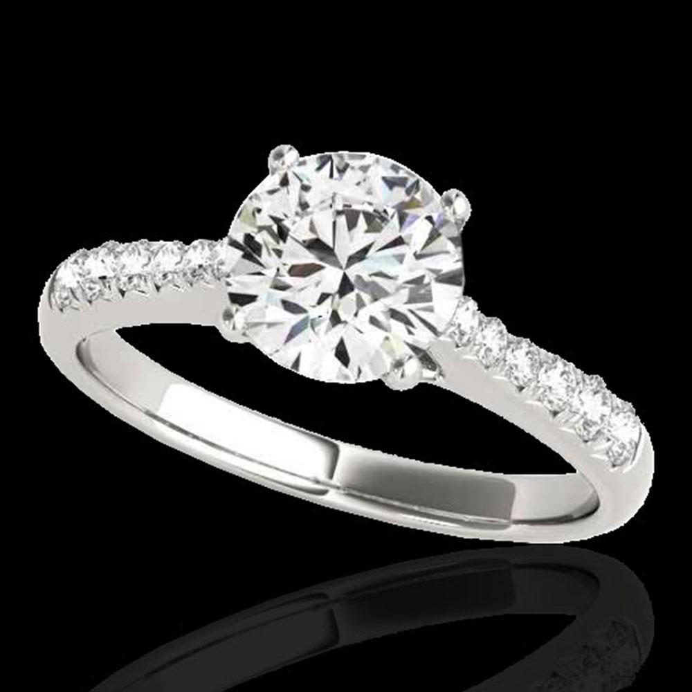 1.25 ctw Certified Diamond Solitaire Ring 10k White Gold - REF-190K9Y