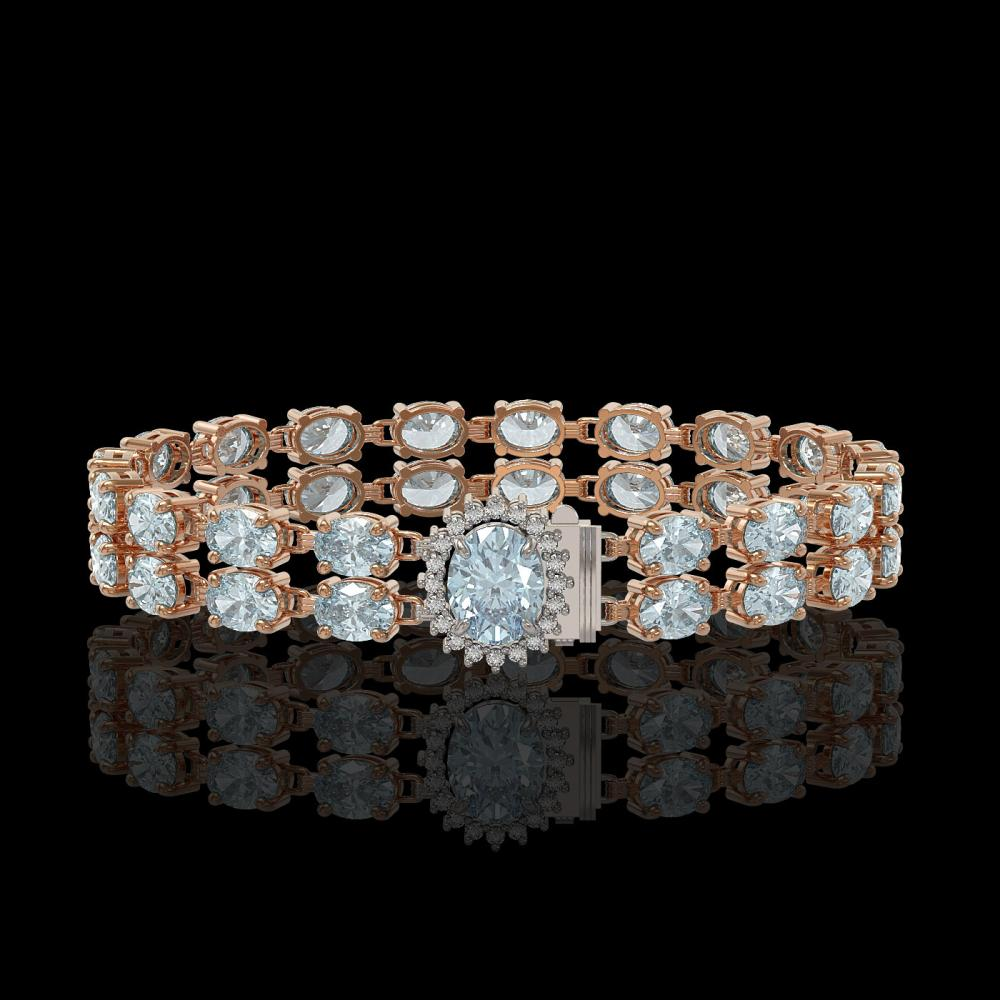29.32 ctw Sky Topaz & Diamond Bracelet 14K Rose Gold - REF-218W2H