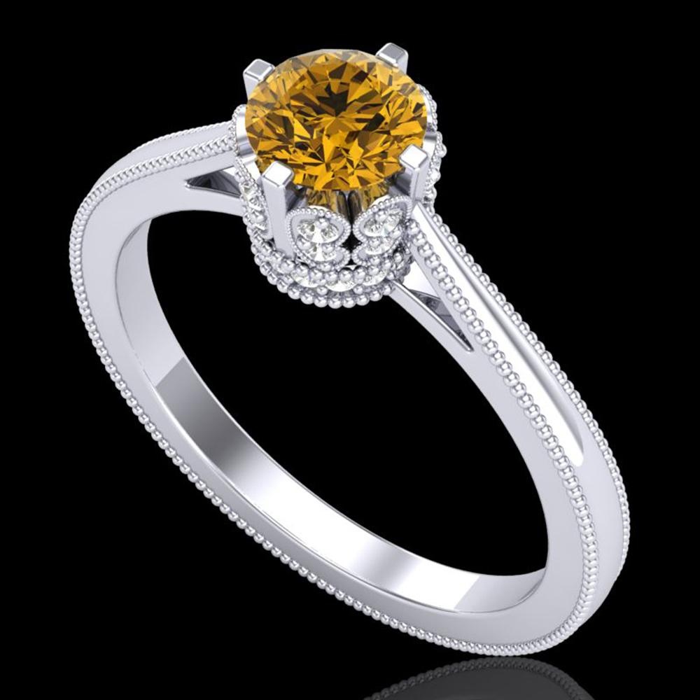 0.81 ctw Intense Fancy Yellow Diamond Art Deco Ring 18k White Gold - REF-127H3R