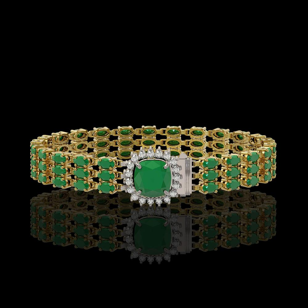 31.91 ctw Emerald & Diamond Bracelet 14K Yellow Gold - REF-312R5K