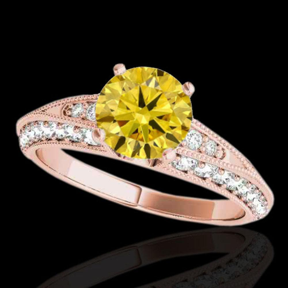 1.58 ctw Certified SI Intense Yellow Diamond Antique Ring 10k Rose Gold - REF-211N4F