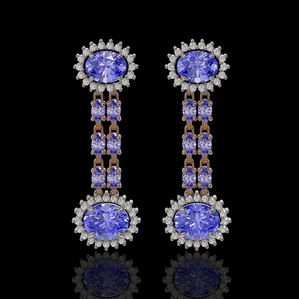 9.01 ctw Tanzanite & Diamond Earrings 14K Rose Gold - REF-227K3Y