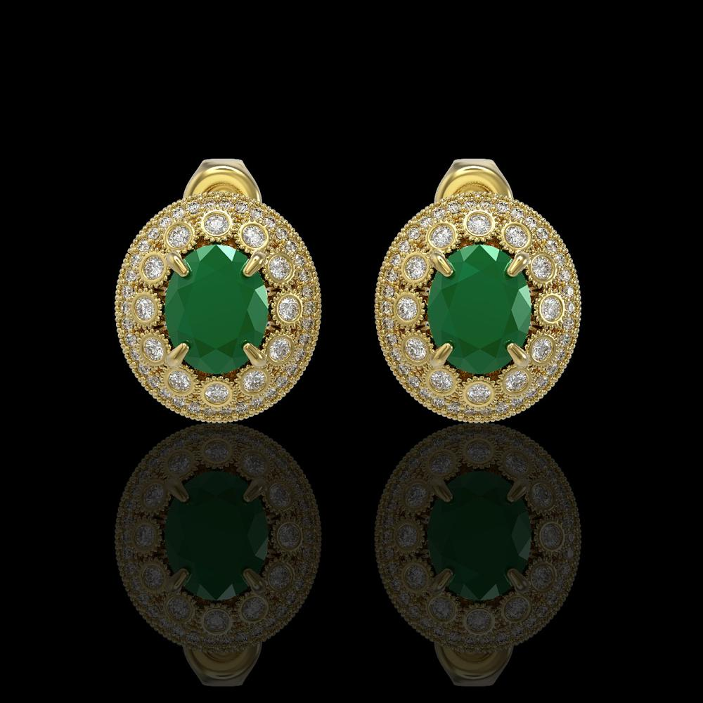 8.84 ctw Certified Emerald & Diamond Victorian Earrings 14K Yellow Gold - REF-227Y3X