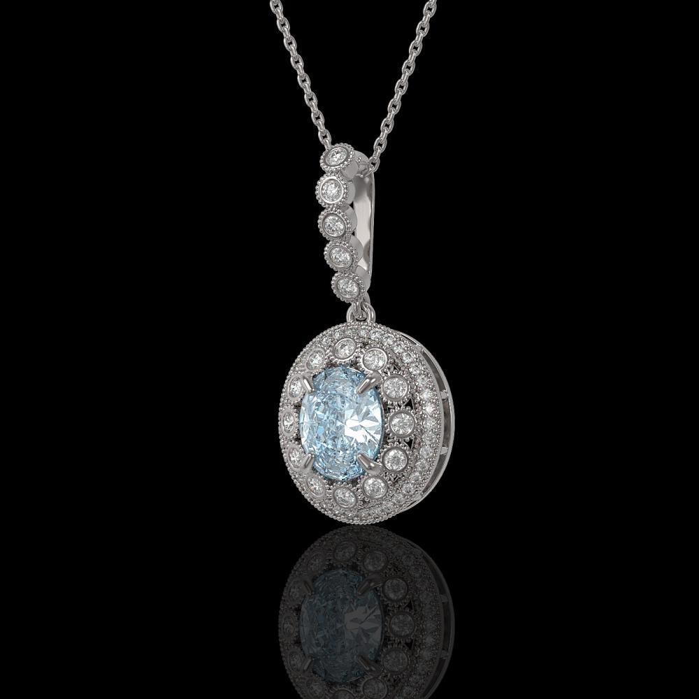 3.82 ctw Aquamarine & Diamond Victorian Necklace 14K White Gold - REF-136H8R