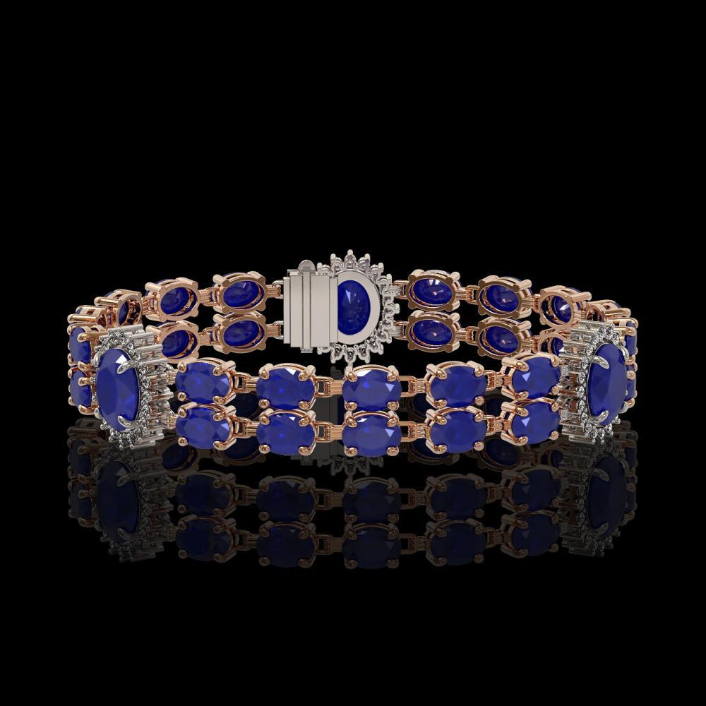 20.99 ctw Sapphire & Diamond Bracelet 14K Rose Gold - REF-250H9R