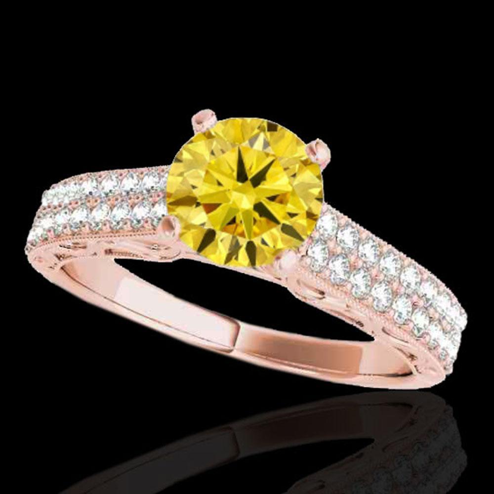 1.91 ctw Certified SI Intense Yellow Diamond Antique Ring 10k Rose Gold - REF-354W5H