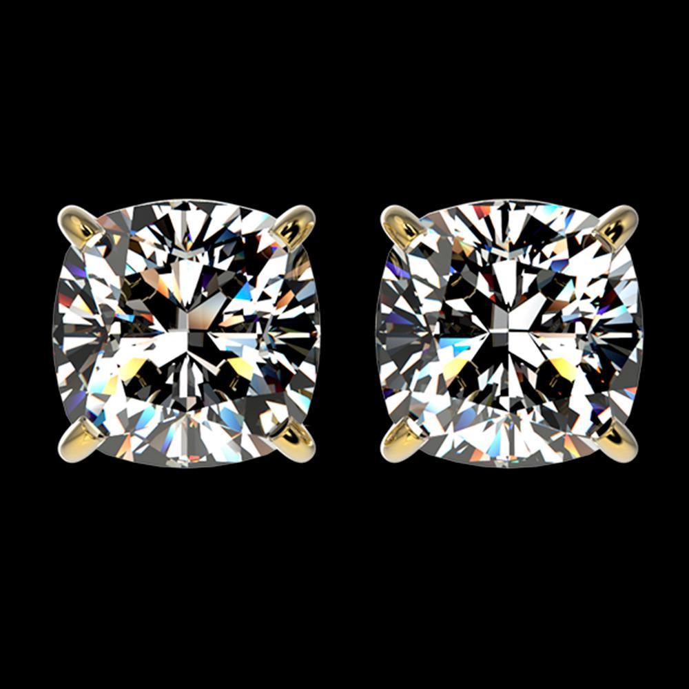 2 ctw Certified VS/SI Quality Cushion Diamond Stud Earrings 10k Yellow Gold - REF-478F6M