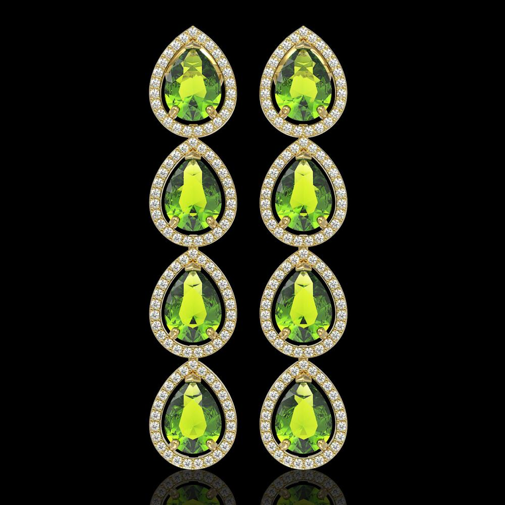 8.4 ctw Peridot & Diamond Micro Pave Halo Earrings 10k Yellow Gold - REF-172X2A