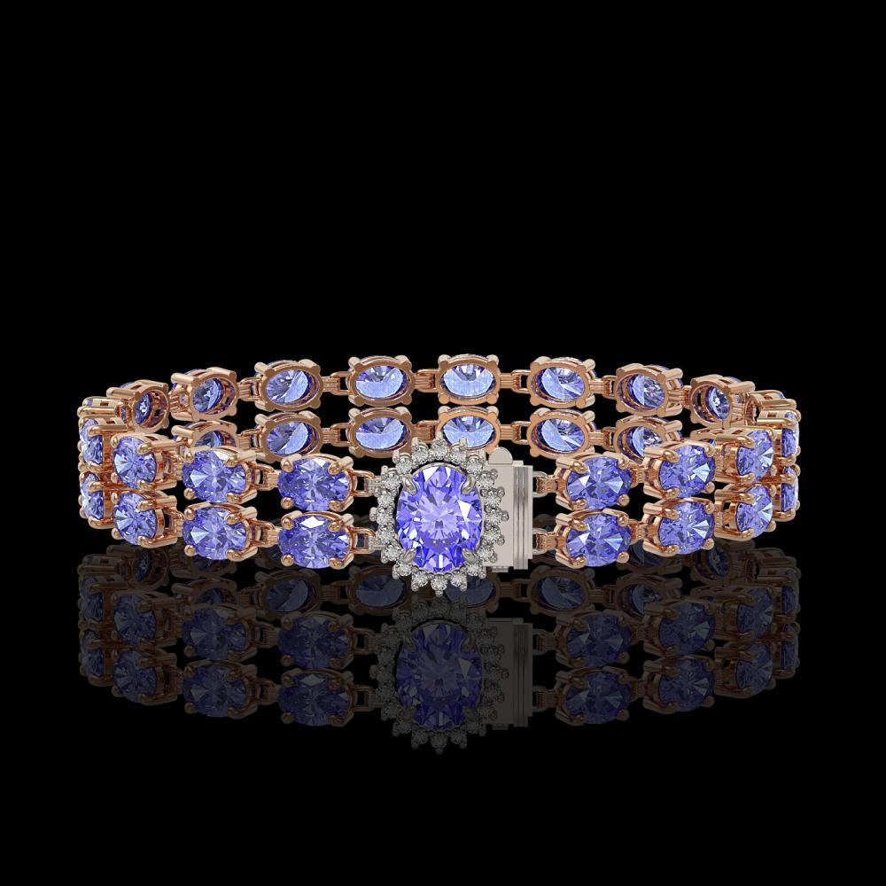 28.22 ctw Tanzanite & Diamond Bracelet 14K Rose Gold - REF-400M2G