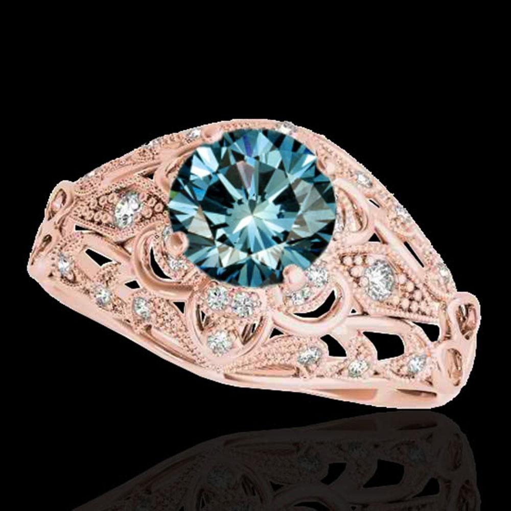 1.36 ctw SI Certified Blue Diamond Solitaire Antique Ring 10k Rose Gold - REF-129X5A