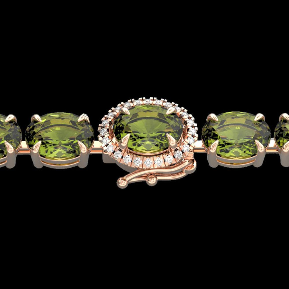 27 ctw Green Tourmaline & VS/SI Diamond Micro Bracelet 14k Rose Gold - REF-243A5N