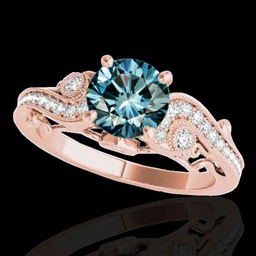 1.5 ctw SI Certified Fancy Blue Diamond Antique Ring 10k Rose Gold - REF-150R2K