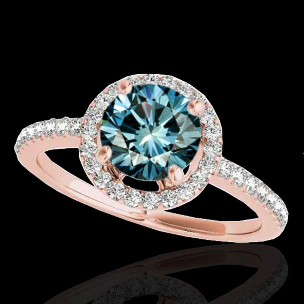 1.4 ctw SI Certified Fancy Blue Diamond Solitaire Halo Ring 10k Rose Gold - REF-129R5K