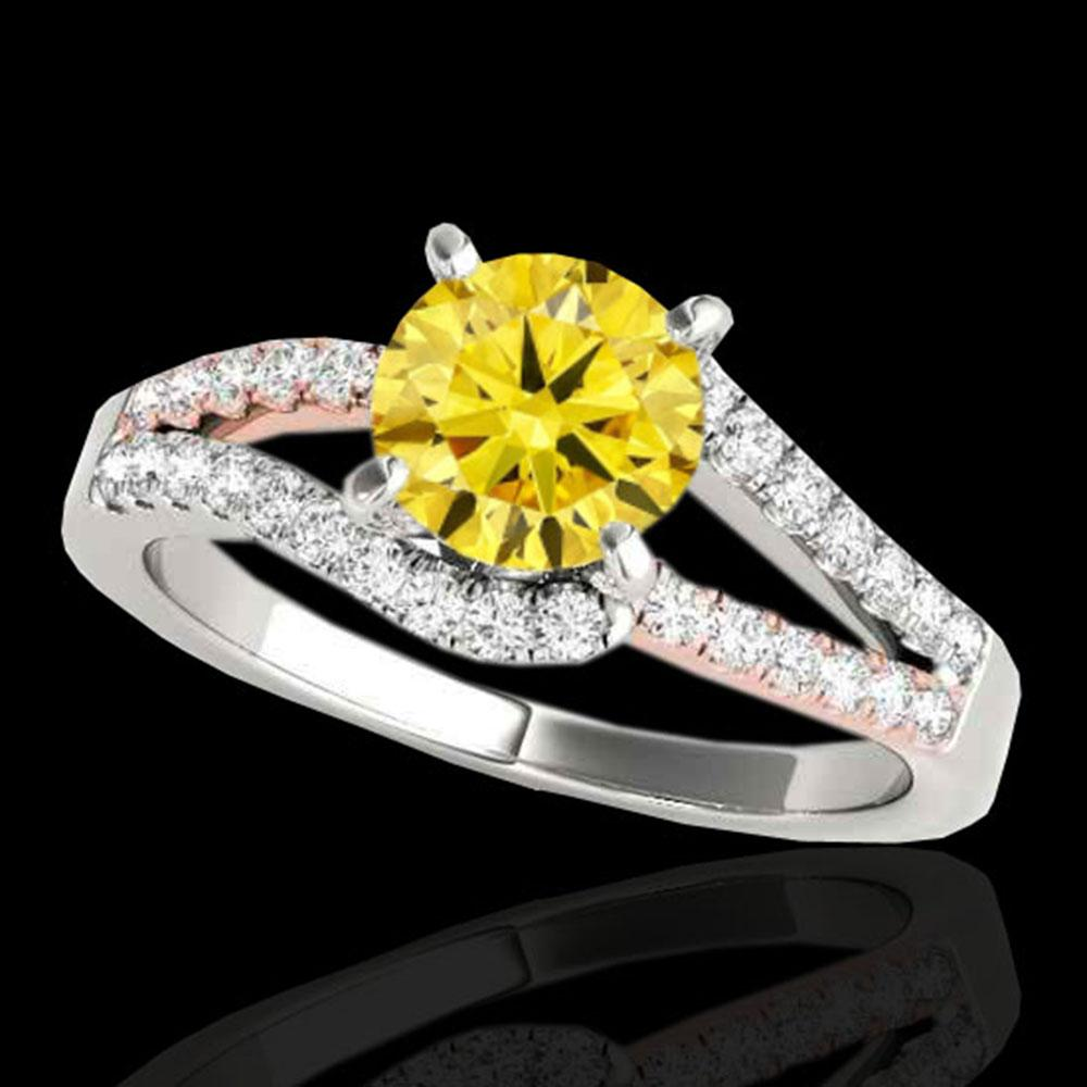 1.4 ctw Certified SI Fancy Yellow Diamond Solitaire Ring 10k 2Tone Gold - REF-211W4H