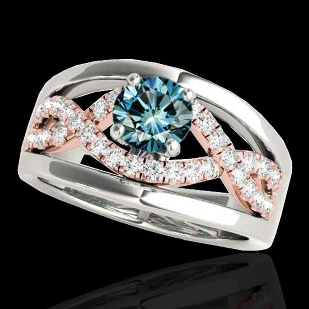 1.55 ctw SI Certified Blue Diamond Solitaire Ring 10k 2Tone Gold - REF-170G5W