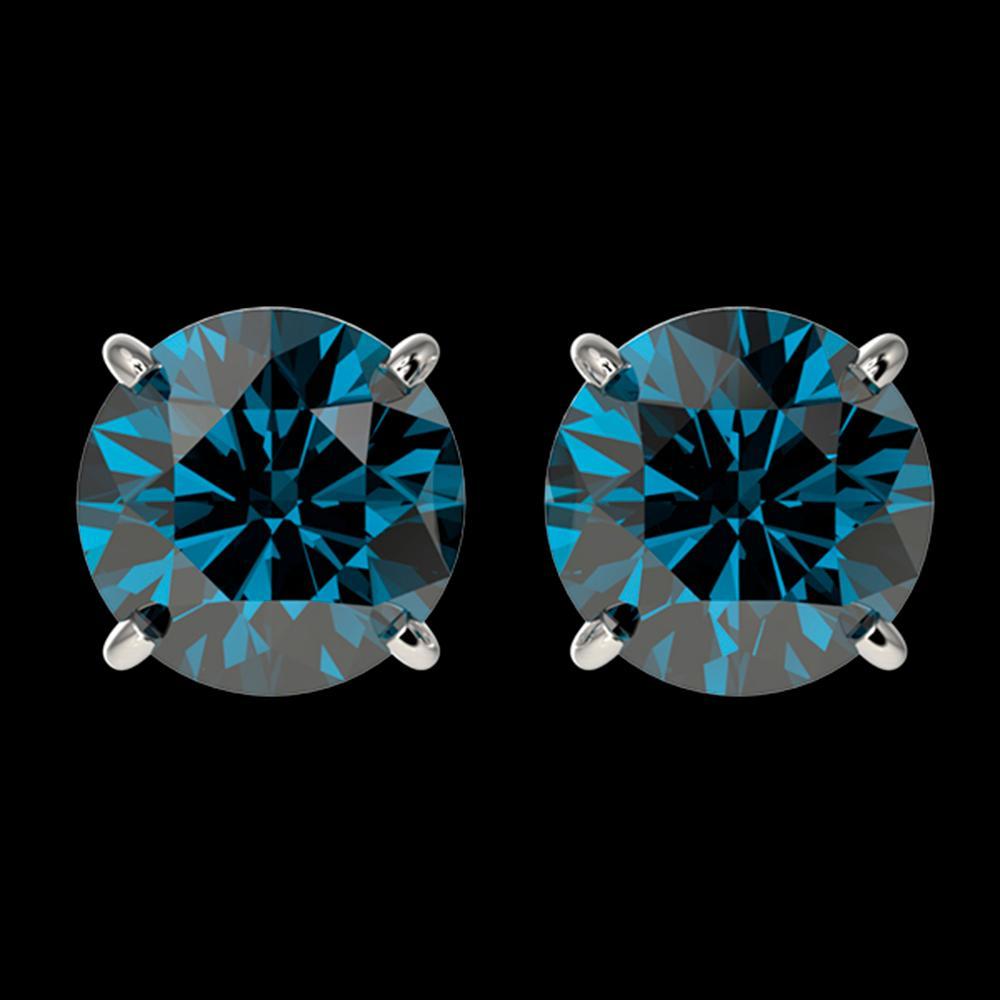 2 ctw Certified Intense Blue Diamond Stud Earrings 10k White Gold - REF-181A6N