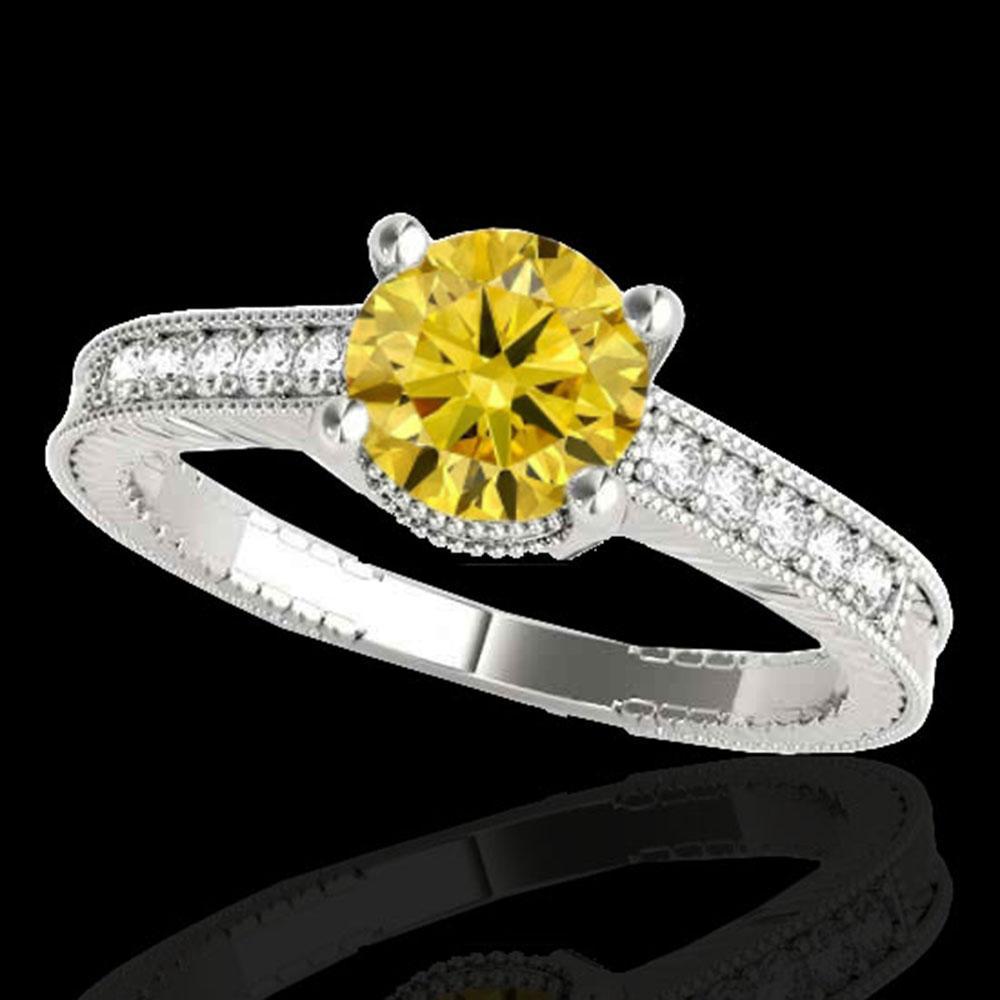1.2 ctw Certified SI Intense Yellow Diamond Antique Ring 10k White Gold - REF-188R2K