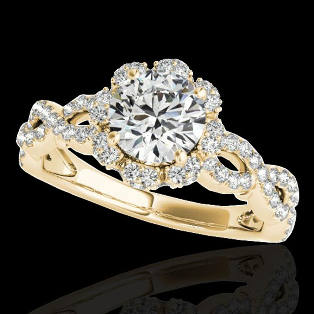 1.69 ctw Certified Diamond Solitaire Halo Ring 10k Yellow Gold - REF-197F8M