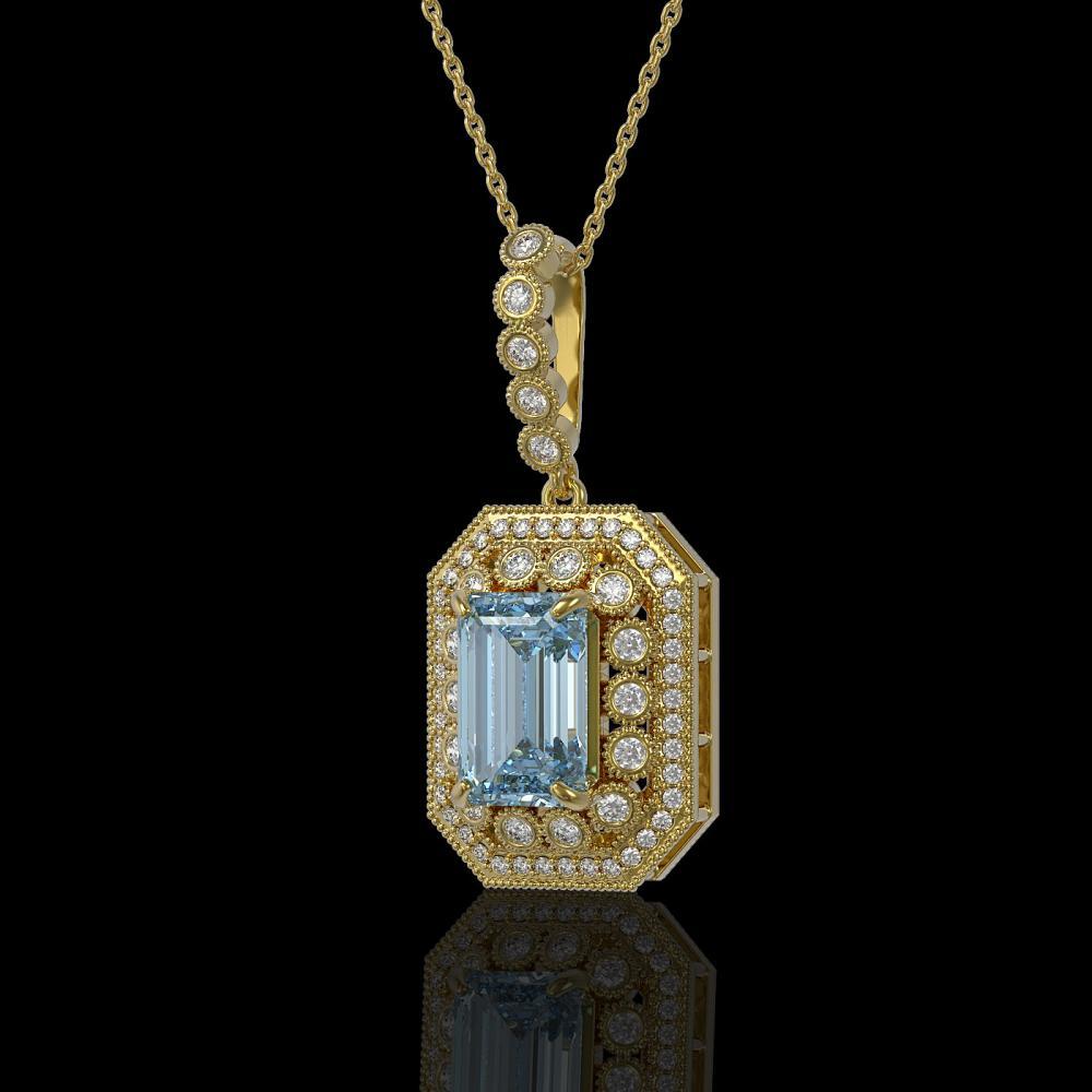 5.66 ctw Aquamarine & Diamond Victorian Necklace 14K Yellow Gold - REF-172M8G