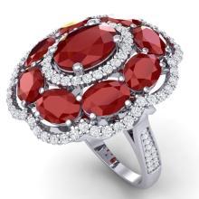 14.4 CTW Royalty Designer Ruby & VS Diamond Ring 18K Gold - REF-263W6H - 39186