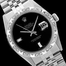 Rolex Men's Stainless Steel, QuickSet, Diam Dial with Pyrimid Diam Bezel  - REF-441M8H