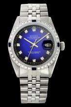 Rolex Ladies Stainless Steel, Diam Dial & Diam/Sapphire Bezel, Saph Crystal - REF-360N2F