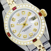 Rolex Ladies Two Tone 14K Gold/SS, Diam Dial & Diam/Ruby Bezel, Saph Crystal - REF-363N3F