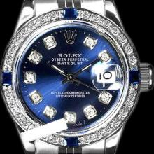 Rolex Men's Stainless Steel, QuickSet, Diam Dial & Diam/Sapphire Bezel - REF-441F8M