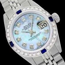 Rolex Ladies Stainless Steel, Diam Dial & Diam/Sapphire Bezel, Saph Crystal - REF-357N8F