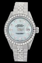 Rolex Men's Stainless Steel, QuickSet, Diamond Dial & Diamond Bezel - REF-485Z5Y
