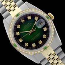 Rolex Men's Two Tone 14K Gold/SS, QuickSet, Diam Dial & Diam/Emerald Bezel - REF-474K5R