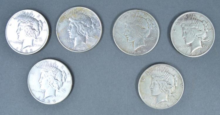 Six Peace Dollars