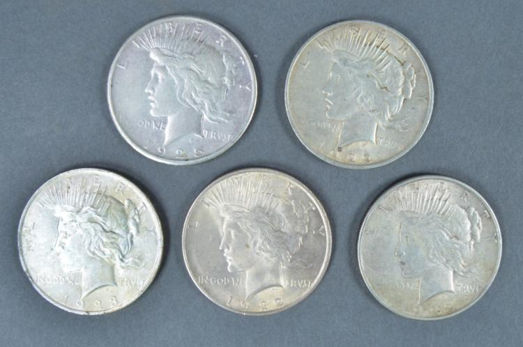 Five Peace Dollars