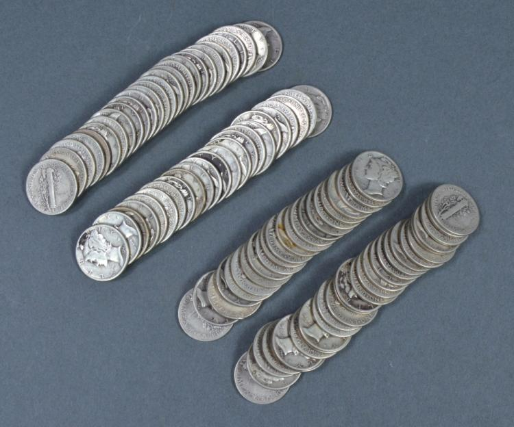 Two Rolls of Circulated Mercury Dimes