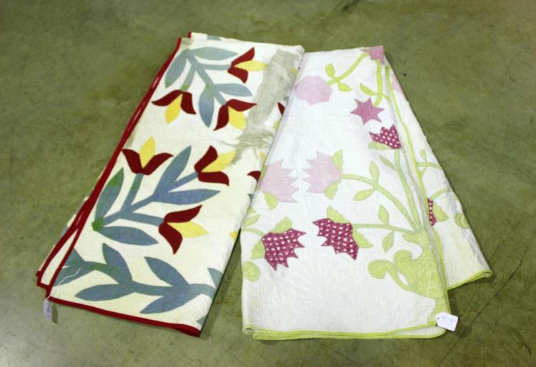 Two Hand Stitched Appliqued Quilts