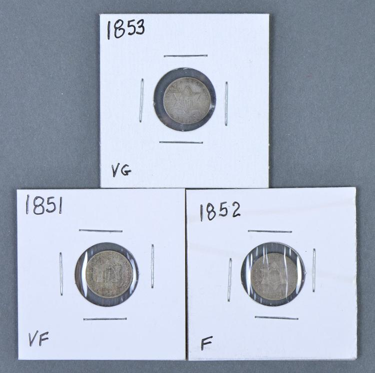 Three Obsolete Three-Cent Silvers (Trimes)
