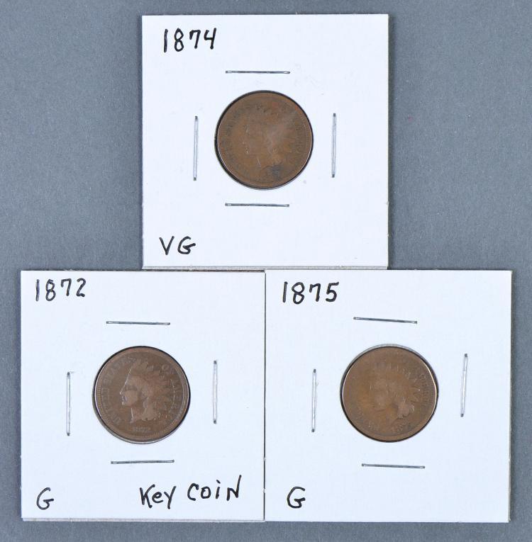 Three Scarce Indian Cents