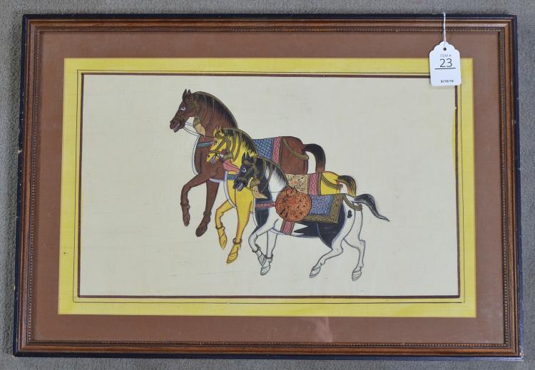Oriental Watercolor on Silk of Horses