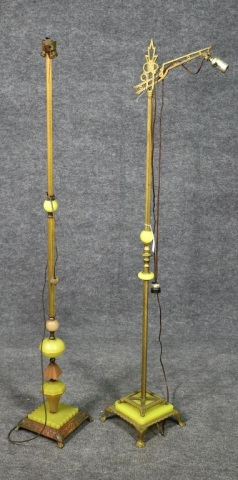 Two Agate and Brass Floor Lamps